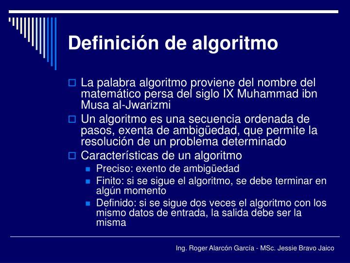 Definición de algoritmo