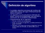 definici n de algoritmo