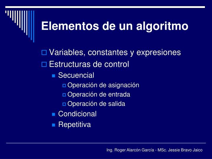 Elementos de un algoritmo
