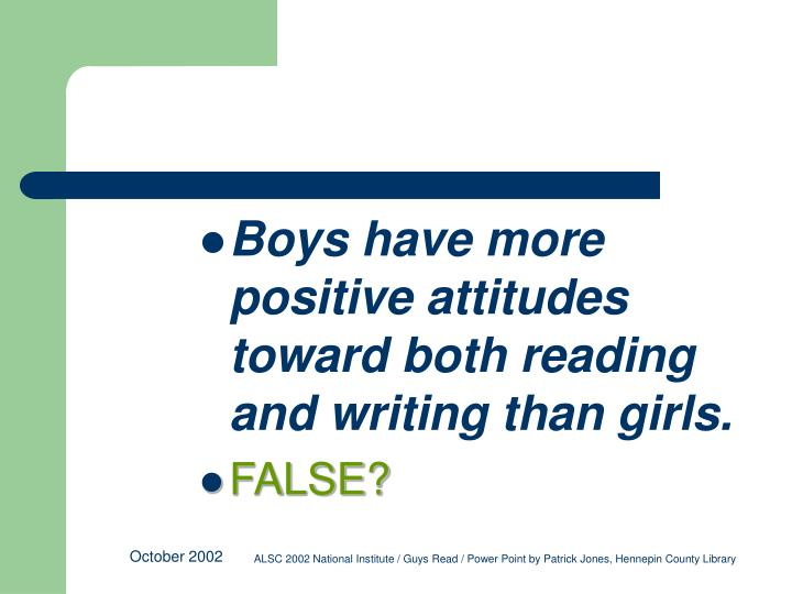 Boys have more positive attitudes toward both reading and writing than girls.