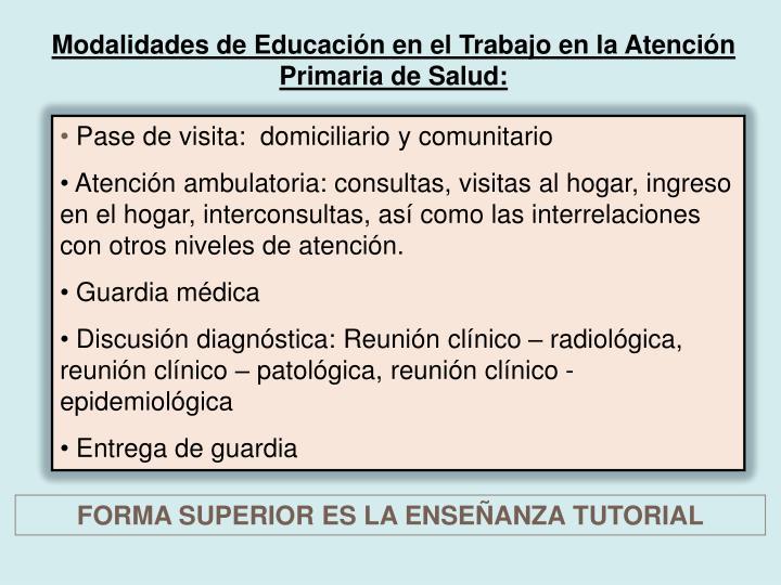 Modalidades de Educación en el Trabajo en la Atención Primaria de Salud: