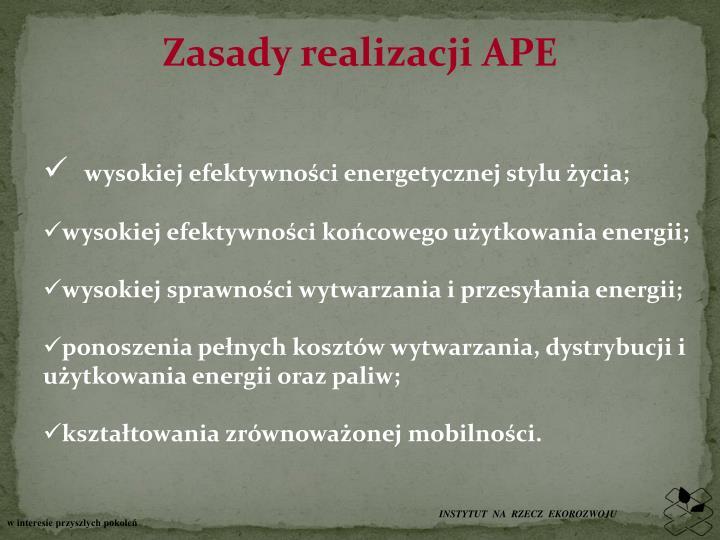 Zasady realizacji APE