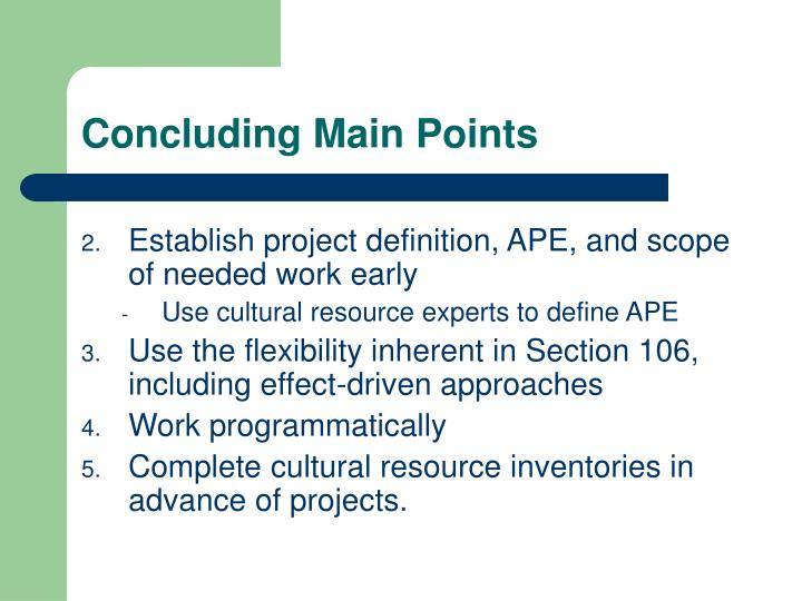 Concluding Main Points