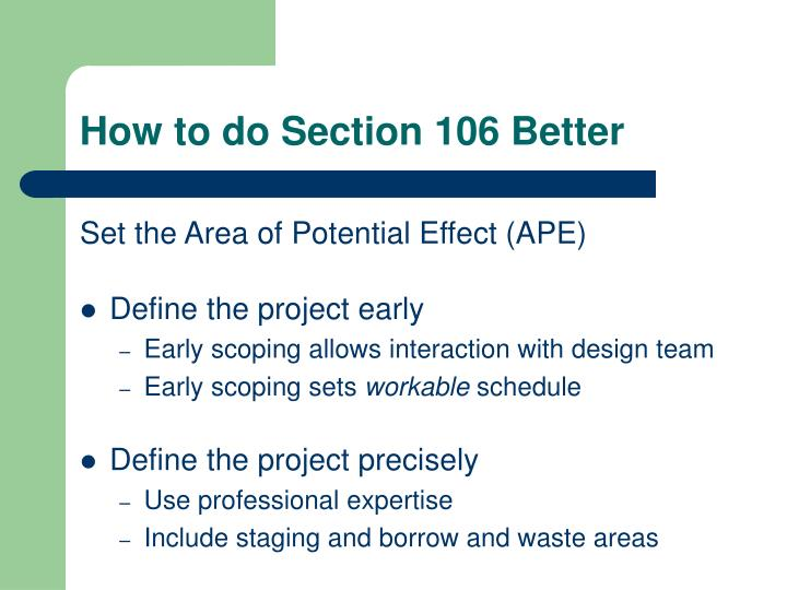 How to do Section 106 Better