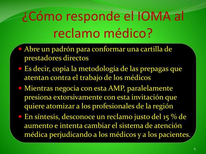 ¿Cómo responde el IOMA al reclamo médico?