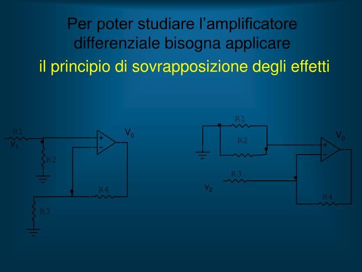 Per poter studiare l'amplificatore differenziale bisogna applicare