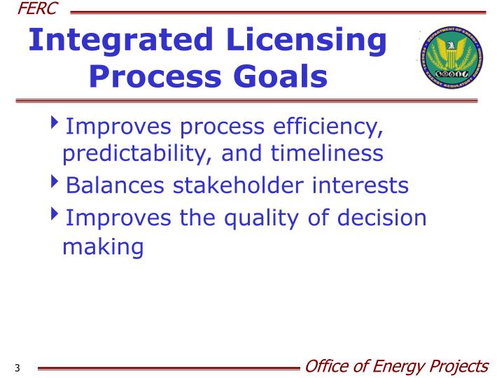 Integrated licensing process goals