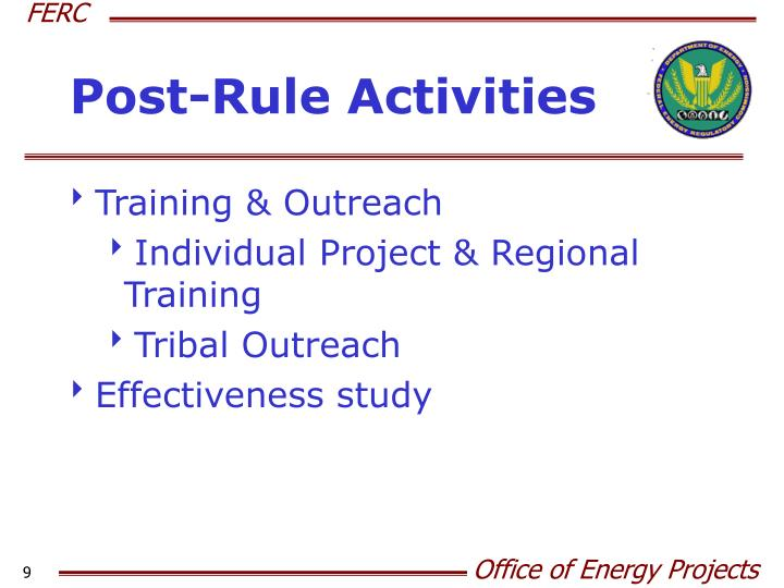 Post-Rule Activities