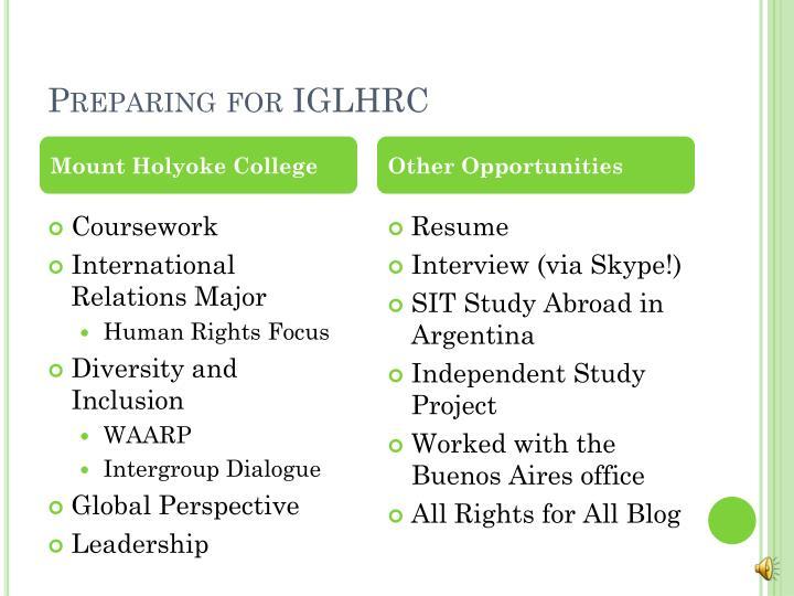 Preparing for IGLHRC