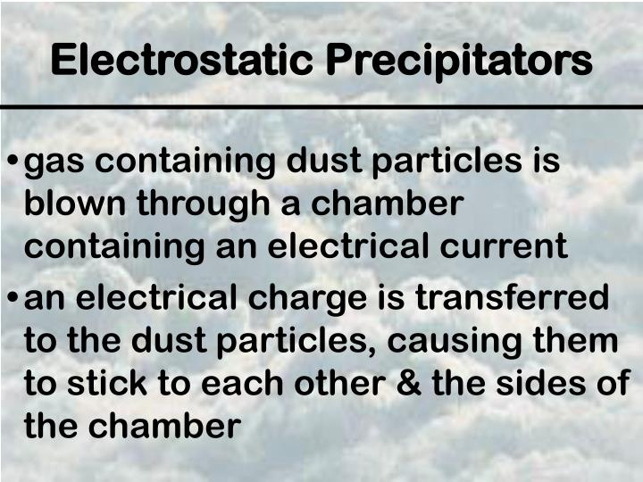 gas containing dust particles is blown through a chamber containing an electrical current