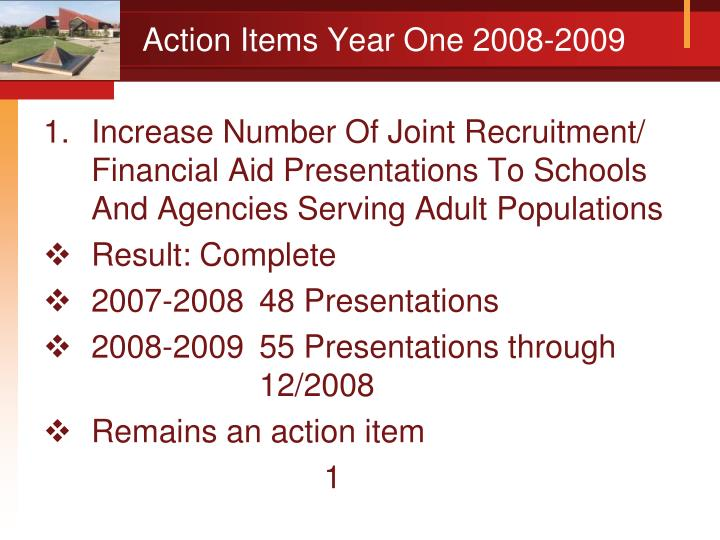 Action items year one 2008 2009