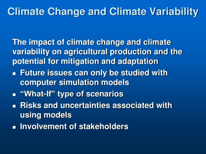 Climate Change and Climate Variability