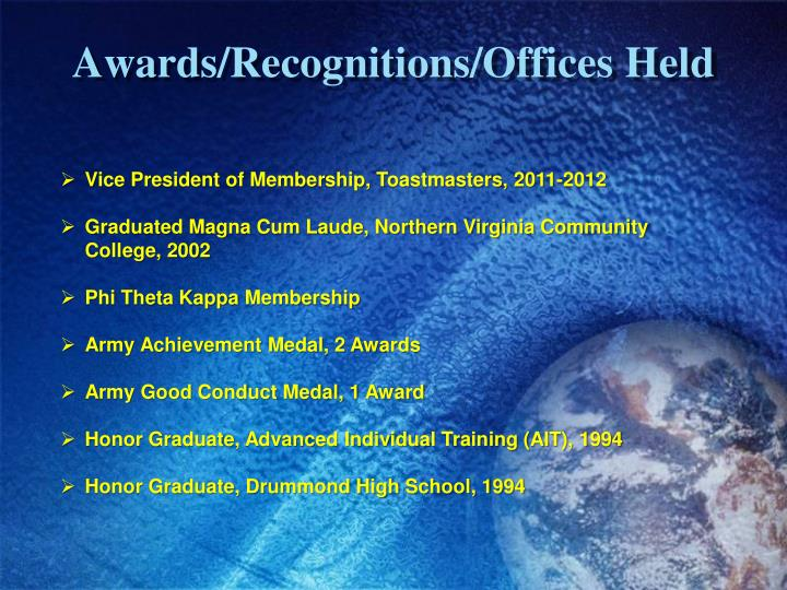 Awards/Recognitions/Offices Held
