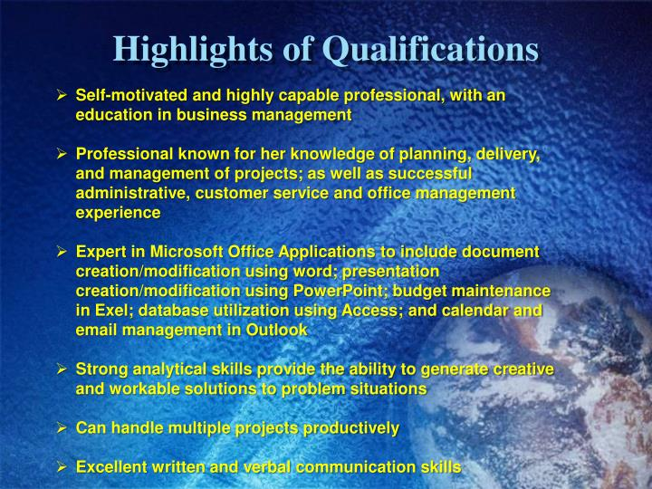 Highlights of qualifications