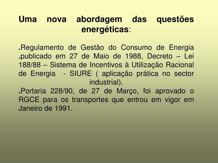 Uma nova abordagem das questões energéticas