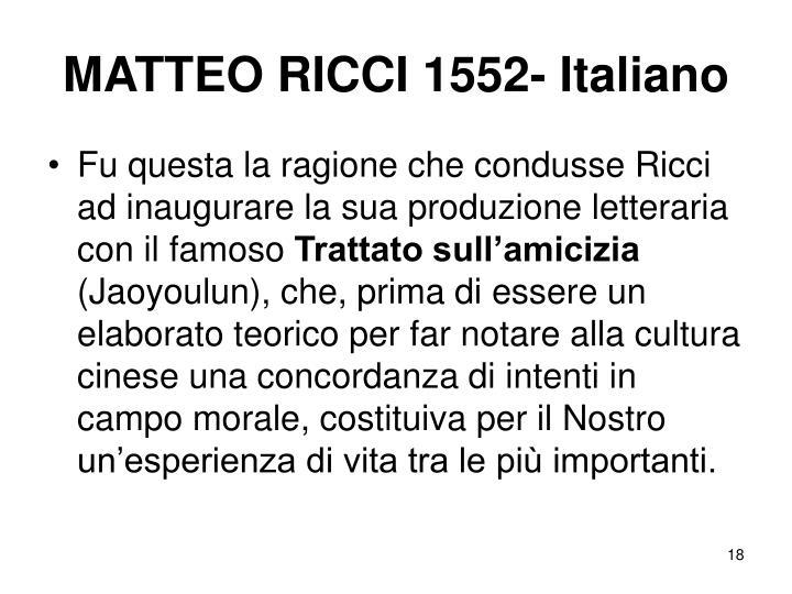 MATTEO RICCI 1552- Italiano
