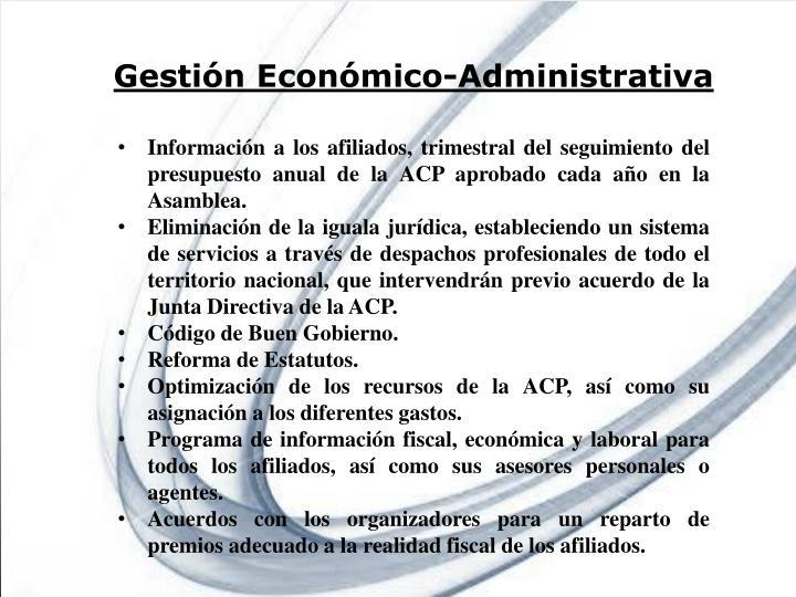 Gestión Económico-Administrativa
