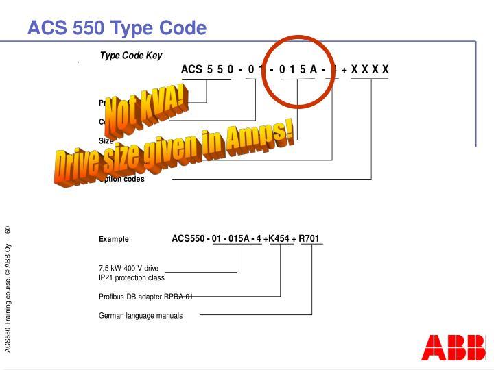 ACS 550 Type Code