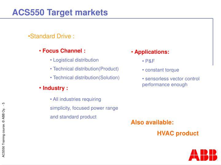 ACS550 Target markets