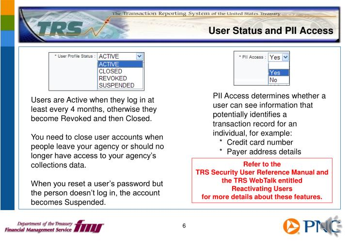 User Status and PII Access