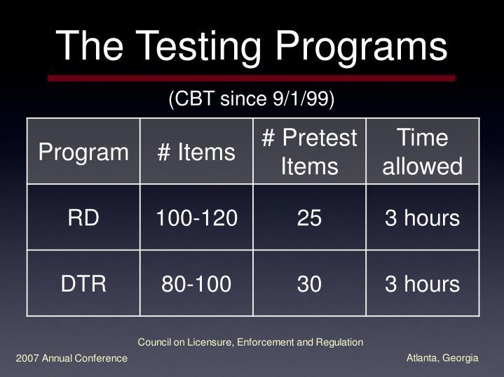 The Testing Programs