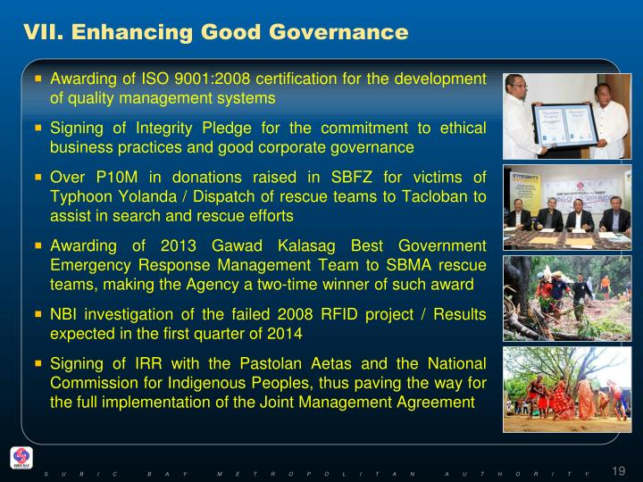 VII. Enhancing Good Governance