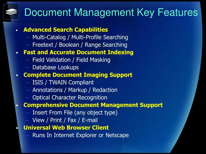 Document Management Key Features
