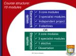 course structure 10 modules