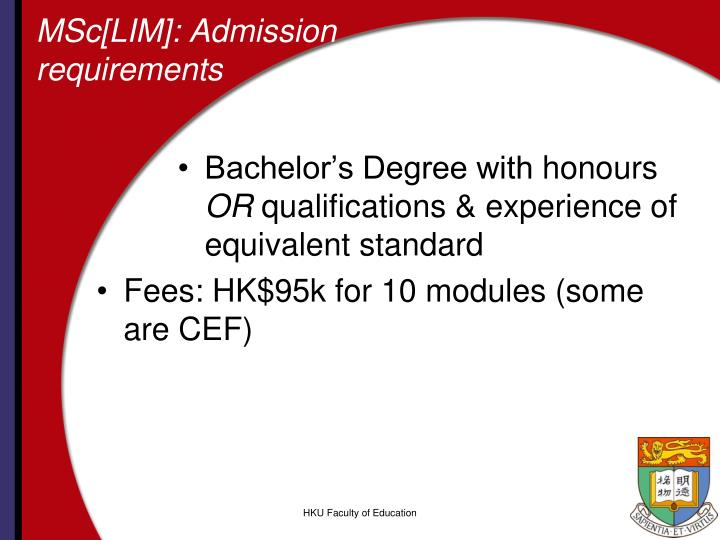 MSc[LIM]: Admission requirements