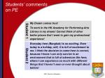 students comments on pe