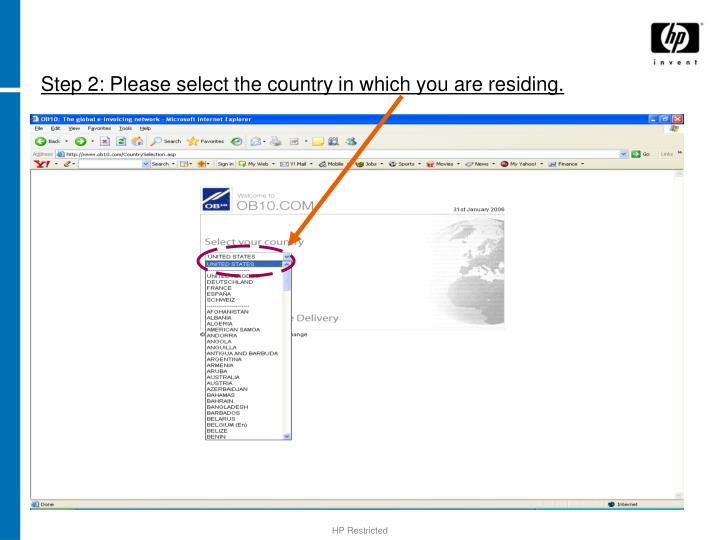 Step 2 please select the country in which you are residing