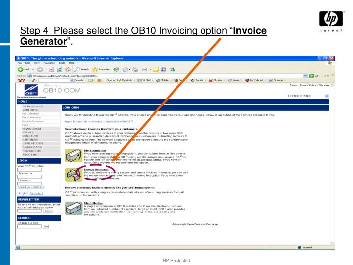 Step 4: Please select the OB10 Invoicing option ""