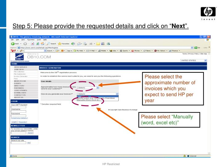 Step 5: Please provide the requested details and click on ""