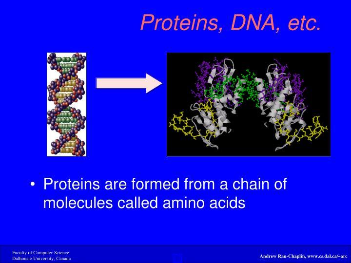 Proteins, DNA, etc.