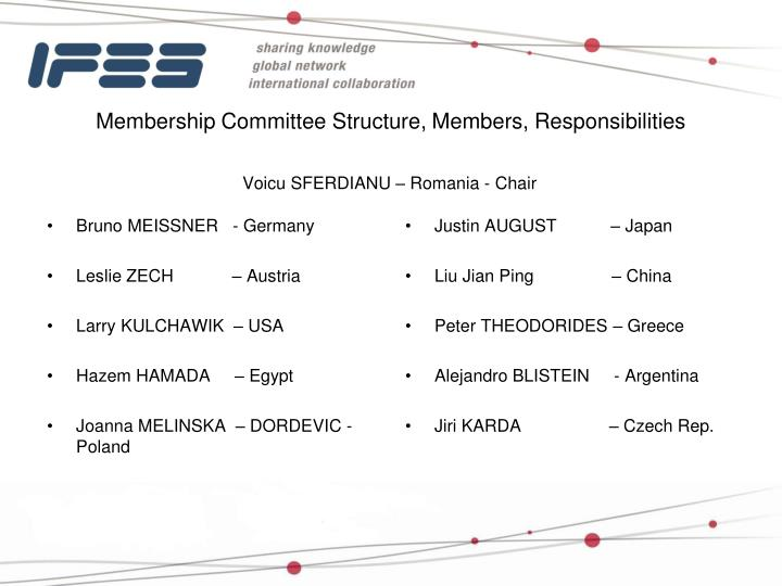 Membership Committee Structure, Members, Responsibilities