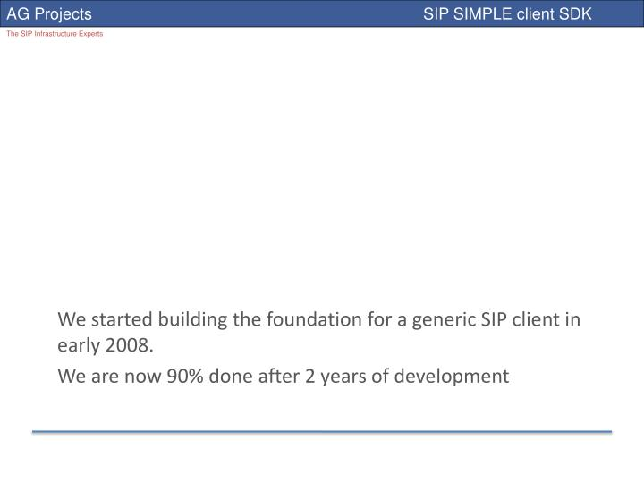We started building the foundation for a generic SIP client in early 2008.