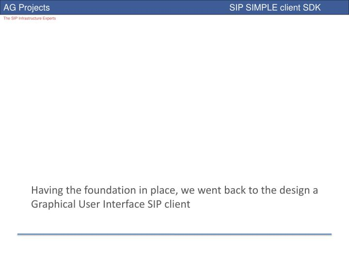 Having the foundation in place, we went back to the design a Graphical User Interface SIP client
