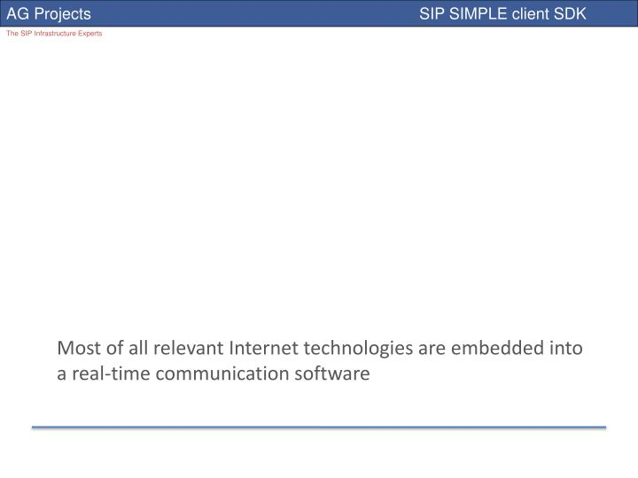Most of all relevant Internet technologies are embedded into a real-time communication software