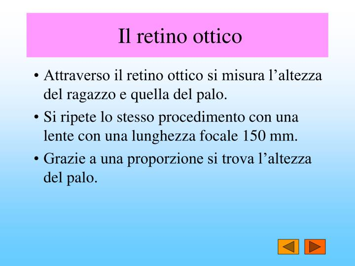 Il retino ottico
