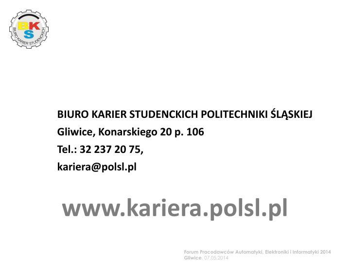 BIURO KARIER STUDENCKICH POLITECHNIKI ŚLĄSKIEJ
