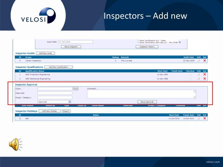 Inspectors – Add new