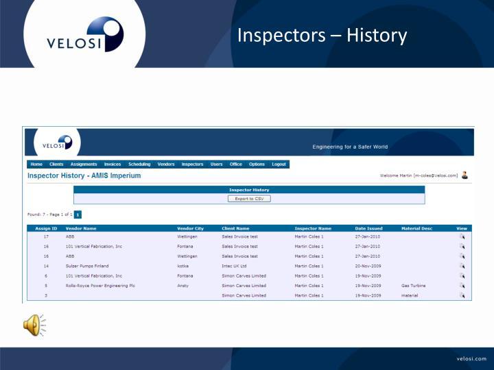 Inspectors – History