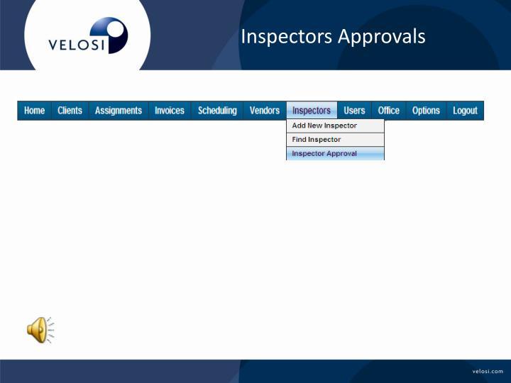 Inspectors Approvals