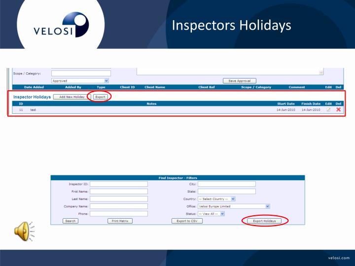 Inspectors Holidays