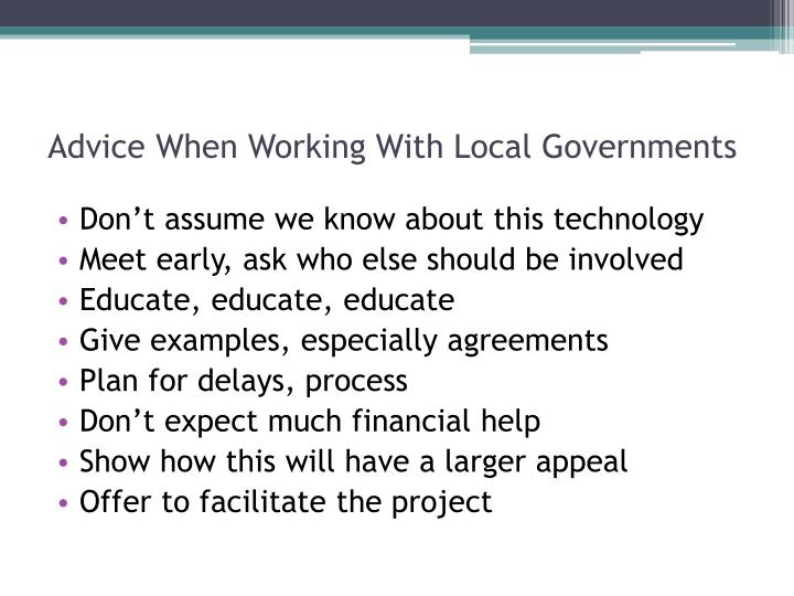 Advice When Working With Local Governments