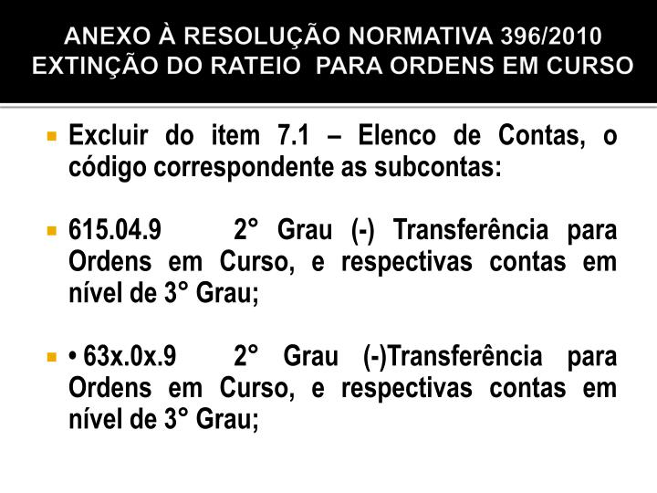 ANEXO À RESOLUÇÃO NORMATIVA 396/2010
