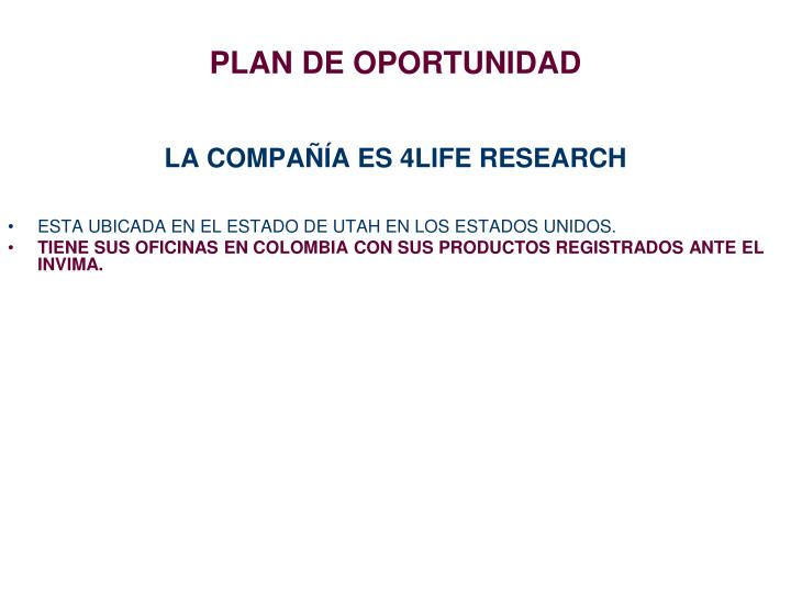 PLAN DE OPORTUNIDAD