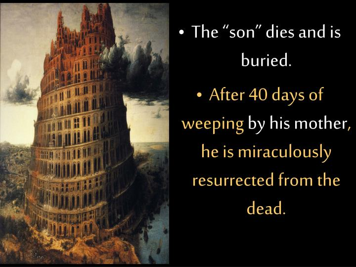 "The ""son"" dies and is buried."