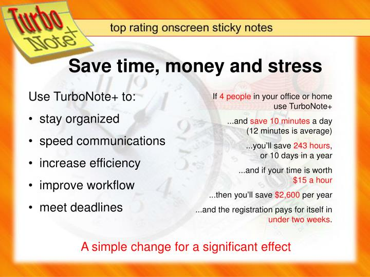 Save time, money and stress