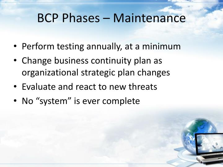 BCP Phases – Maintenance